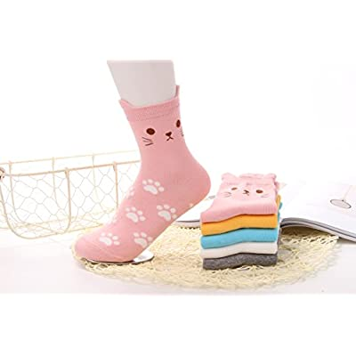 5 Pairs Women's Fun Socks Cute Cat Animals Funny Funky Novelty Cotton Gift (Cute Cat) Size: Free size 22.5-25.5cm Suitable for women US Size 5-8 at Women's Clothing store