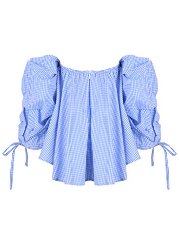 Women's Casual Achicgirl The amp;white Off Blue Loose Long Shoulder Sleeve Blouse BOxTqd1xw