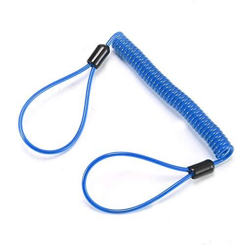 ONEVER Lock Disc Security Alarm Anti Thief Motorfiets Moto Remschijf Wieltas En Herinnering Lente Kabel (blauw)
