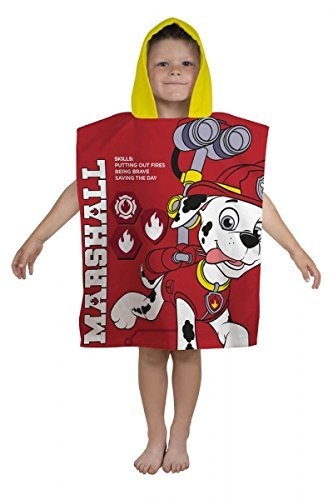 Official Character World Paw Patrol MARSHALL Hooded Poncho 100% Cotton Hooded Poncho Towel 50cm x 115cm