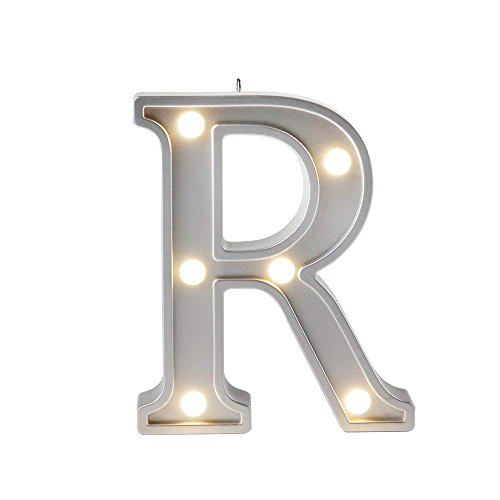 Small Letter R Home Decor DIY Creative LED Night Lights Birthday Gift Bedroom Lamp Wall Hanging Photography Wedding Decor Party Decorations Color Silver 1pcs 4.2 inches (Beautiful Light Photography)