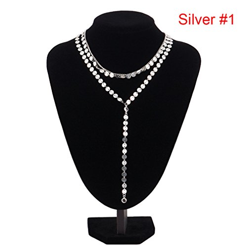 (DARLING HER Sexy Multilayer Sequins Rhinestone Tassel Pendants Chain Necklace Choker Women Jewelry Silver Color)