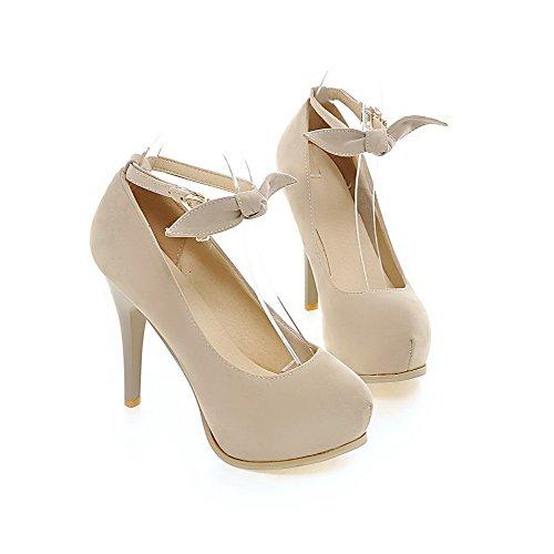 Boucle Chaussures Couleur Unie Dépolissement Femme Légeres Stylet Agoolar Rond Beige wqPZvX