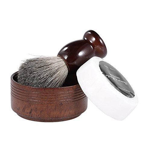 Anself 3 In 1 Men's Shaving Razor Set Beard Cleaning Kit Badger Hair Brush + Soap Bowl + Shaving Soap