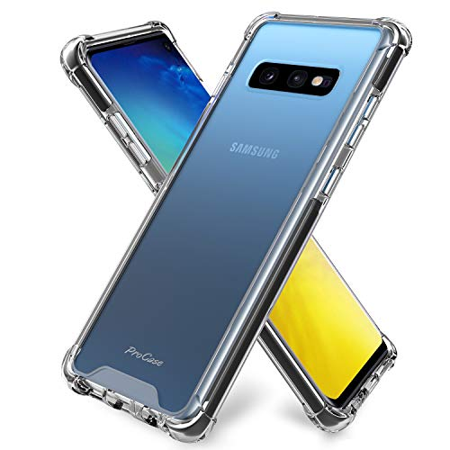 Procase Galaxy S10e Case Clear, Slim Hybrid TPU Bumper Cushion Cover with Reinforced Corners, Transparent Scratch Resistant Rugged Cover Protective Case for Galaxy S10e 2019 Release -Black Frame