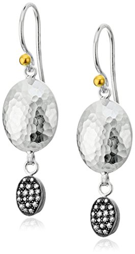 GURHAN ''Jordan Pave'' Sterling Silver and Diamond Double Drop Earrings (1/5cttw, I-J Color, I2 Clarity) by Gurhan