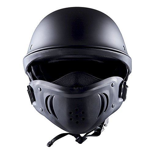 1STorm Motorcycle Half Face Helmet Death Trooper Matt Black, Size X-Large Size XL (61-62 CM,24.0/24.3 Inch)
