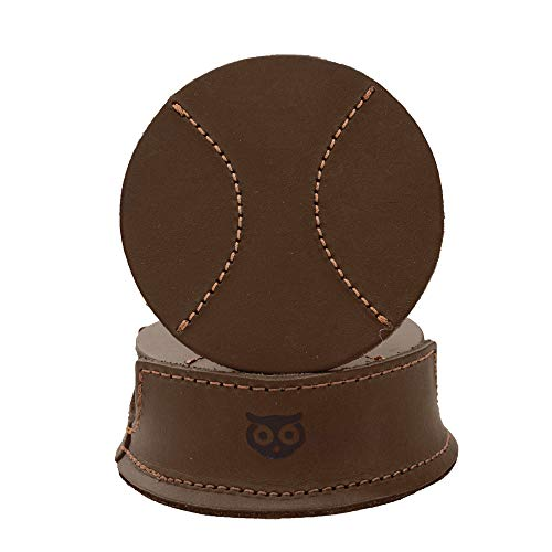 Durable Thick Leather Baseball Coasters (6-Pack) Handmade by Hide & Drink :: Bourbon Brown