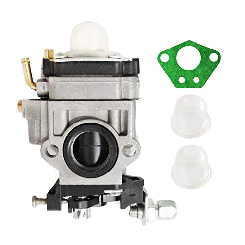 Poweka Carburetor Kit for 43cc 47cc 49cc 50cc 2 Stroke Engines 15mm Intake Hole Mini Pocket Bike Chopper Atv Quad Dirt Bike Super Gas Scooter Bike with Primer Bulb and Gasket (Quad New Mini Atv)