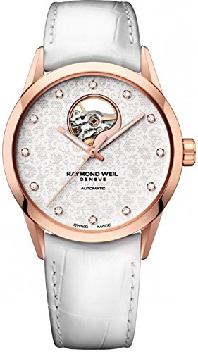 Raymond Weil Freelancer 2750-PC5-30081 38mm Automatic Gold Plated Stainless Steel Case White Calfskin Mineral Women's Watch