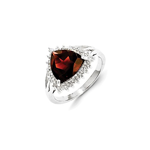 Sterling Silver Rhodium Trillion Garnet & Diamond Ring by CoutureJewelers