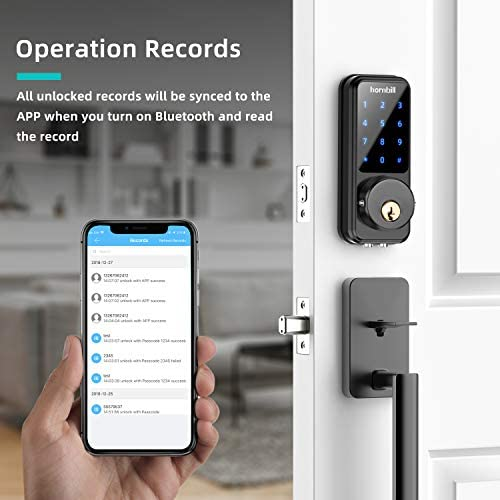 [2020 Newest] Smart Door Lock with Keypad, Keyless Entry Home with Your Smartphone, Bluetooth Digital Smart Deadbolt Door Lock Work with APP Control, Code and eKey, Auto Lock for Home Hotel Apartment 41JnhCMuJbL
