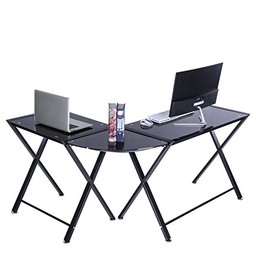 (GreenForest L Shape Corner Computer Office Desk PC Laptop Table Workstation Home Office 3-Piece,Black with Black Glass (Black Glass with X Leg))