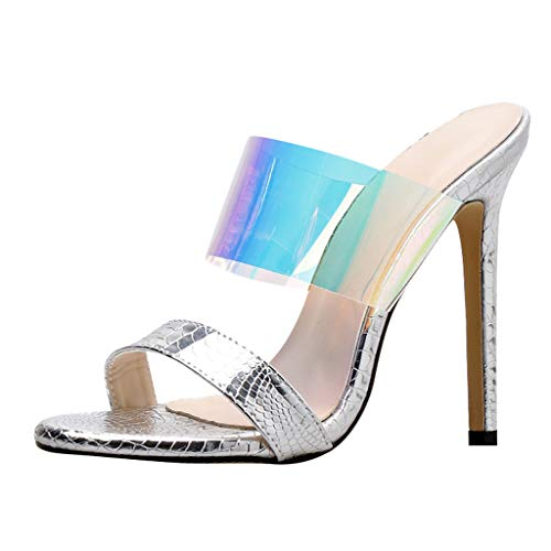 - kaifongfu Women's High Heel Stiletto Pump Pointed Open Toe Transparent Colorful Slip On Slippers Casual Sandals(Silver,39)
