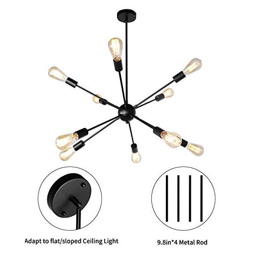 Interior Lighting PUZHI HOME Sputnik Chandeliers 10 Lights Modern Pendant Lighting Semi Flush Mount Ceiling Light Fixture Vintage Hanging… modern ceiling light fixtures