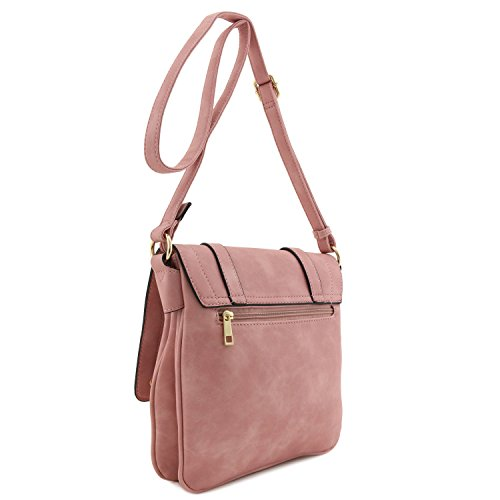 Flapover Crossbody Bag Pink Double Dusty Large Compartment UZqwPxUzWE