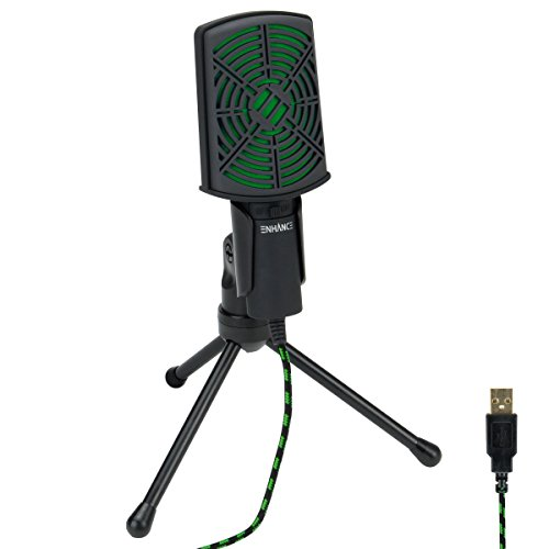 ENHANCE USB Condenser Gaming Microphone - Computer Desktop Mic for Streaming & Recording with Adjustable Stand and Mute Switch - For Skype, Conference Calls, Twitch, Youtube, and Discord - Green