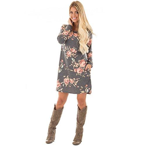 ZHUDJ El Otoño Y El Invierno Vestidos Vestido _ Slim Pocket gray