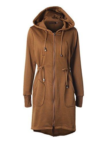 Doreen Women's Casual Zip Up Hoodie Solid Pockets Tunic Sweatshirt Long Jacket Outerwear Plus Size Khaki Size S