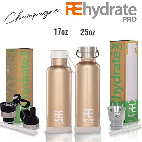 Rehydrate Pro (Champagne 25oz Double-Insulated Stainless Steel Water Vacuum Bottle Flask -Compatible to Swell Yeti Hydro and Klean Kanteen for Hot or Cold Drinks + Bonus 'Flip N Sip' Sports Cap