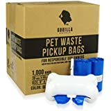 Gorilla Supply 1000 Blue Dog Pet Poop Bags, EPI Technology, 50 Refill Rolls ( with Patented Dispenser)
