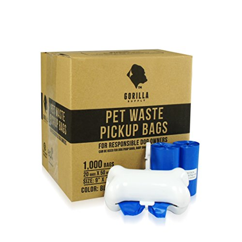 Gorilla Supply 1000 Blue Dog Pet Poop Bags, EPI Technology, 50 Refill Rolls ( with Patented Dispenser) (Pet Poop)