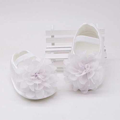 Prevently Baby Kleinkind Schuhe Chiffon Blume Elastisch mit Rutschfesten Weichen Kleinkind Schuhe Babyschuhe Kleinkind-Baby-Chiffon- Blumen-Elastische gehende Schuhe Weiß