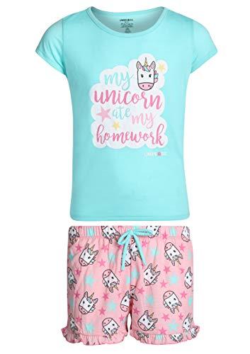 (Limited Too Girls\' 2-Piece Summer T-Shirt Short Pajama Set, Aqua/My Unicorn, Size 14/16')