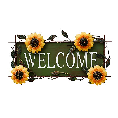 Vintage Sunflower Decor Welcome Sign for Front Door, Garden Themed Welcome Door Sign Hanging Metal Welcome Wall Plaque Home Garden Decor
