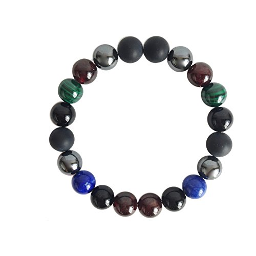 A Peace of Mind, LLC Business Boost, Genuine Black Onyx, Garnet, Hematite, Lapis Lazuli & Malachite Mala Bracelet (7.0) by A Peace of Mind, LLC