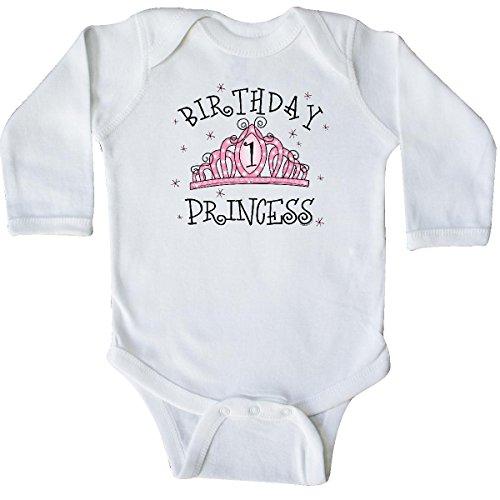 inktastic - Tiara 1st Birthday Princess Long Sleeve Creeper 12 Months White 36a6 ()