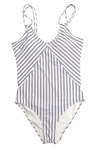 Cupshe Fashion Women's Stripe Printing Halter One-piece Padding Swimsuit (L)