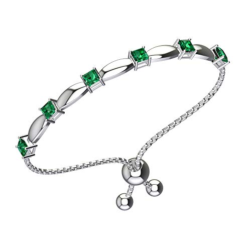 Belinda Jewelz Womens 925 Sterling Silver Sparkling Square Bolo Gemstone Adjustable Tennis Style Pull String Birthstone Jewelry Fine Bracelet, 1.5 Carat Green Created Emerald, 11 Inch Box Chain