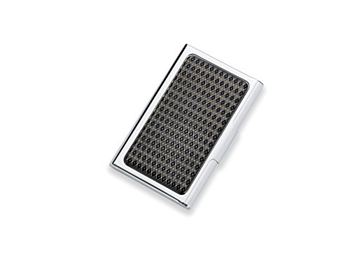 (Men's Stainless Steel Slim Business/Credit Card Case Holder with Diamond Pattern Accent)