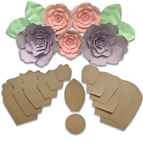 Two Pack Rose Peony Paper Flower Template Kit Free Leaf Import It All