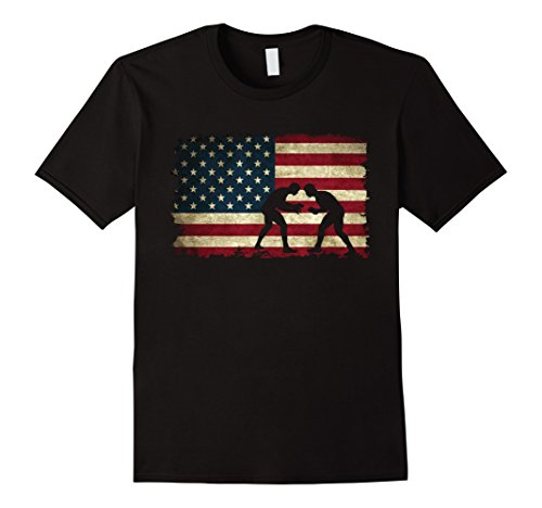 Mens Wrestling American Flag Tee Shirts Gift for a Wrestler Large Black by Wrestling T-Shirts Gifts & Apparel