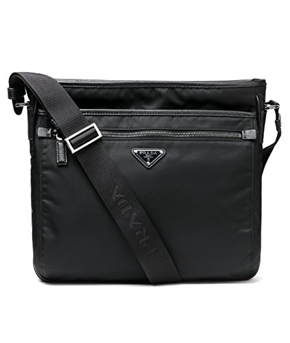 Wiberlux Prada Men's Triangle Logo Detail Zip Pocket Crossbody Bag One Size Black