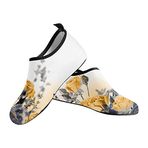 - INTERESTPRINT Bouquet of Delicate Roses Women's Barefoot Shoes Aqua Socks for Swim Beach Pool Surf Yoga US6~US7