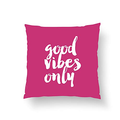 Zippered Pillow Covers Pillowcases One Side 18x18 Inch elegant chick good vibes only text girly pink Pillow Cases Cushion Cover for Home Sofa Bedding
