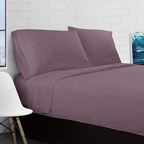 Collection Heather - Ella Jayne Home Home Collection Heather Jersey Knit Bedroom 4 Piece Sheet Set, King, Purple