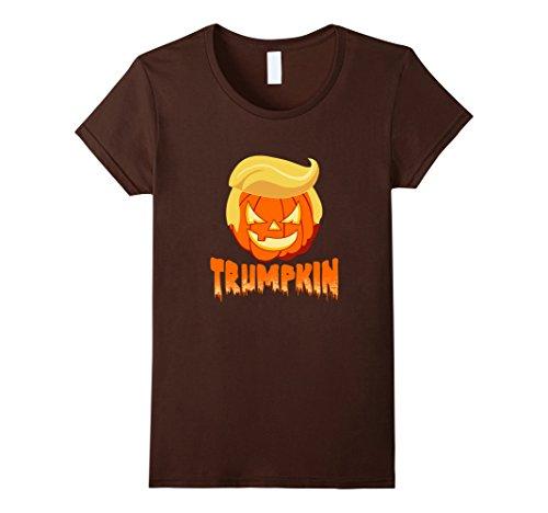 Womens Trumpkin Funny Trump Hair Pumpkin Halloween T-Shirt Large Brown