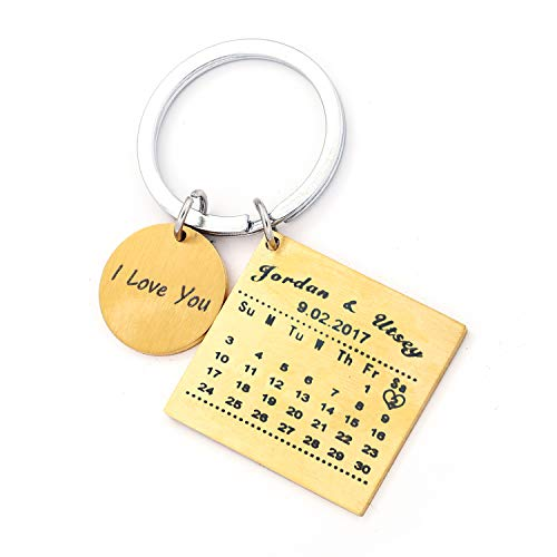 Personalised Custom Engraved Calendar Date Engraved Stainless Steel Keyring & Keychain Memorial Wedding Gift (Name Gold) (Keychain Stainless Gold Steel)