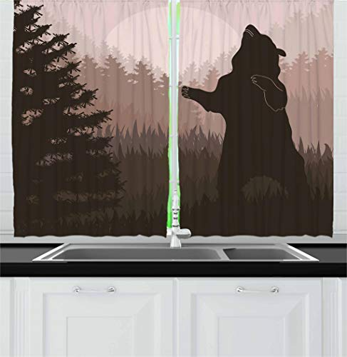 (Ambesonne Nature Kitchen Curtains, Silhouette of Wild Bear in The Jungle Woodland at Dark Night Illustration, Window Drapes 2 Panel Set for Kitchen Cafe, 55 W X 39 L Inches, Army Green Pale Peach)
