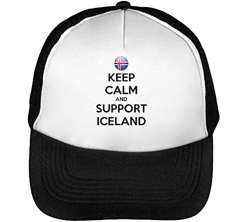 Keep Calm Support Iceland Gorras Hombre Snapback Beisbol Negro Blanco