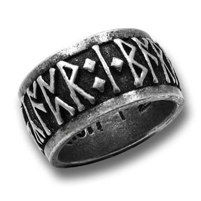 Runeband Nordic Runes Recite the Mantra, 'Poetry Is in Battle' Gothic Ring Alchemy Women's Men's Alternative Lifestyle Jewelry (13.25)