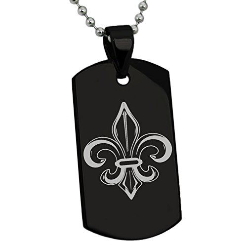 Tioneer Black Stainless Steel Valorous Fleur De Lis Symbol Engraved Dog Tag Pendant Necklace ()
