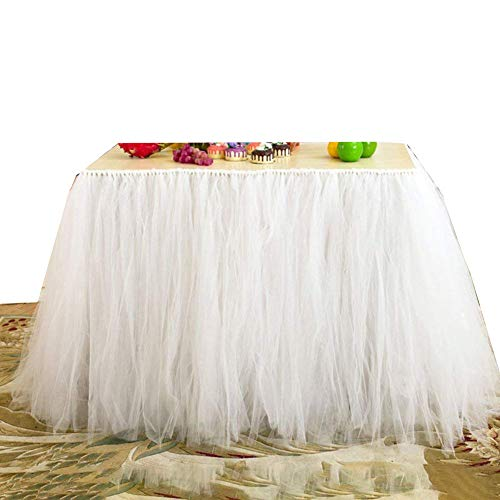 Tulle Table Skirt Fabric Tutu Table Clot for Rectangle or Round Tables/Fashion Deluxe Romantic Wedding Birthday Party Baby Shower Decorative Tablecloth/Table Cover (White1 L:91cm -
