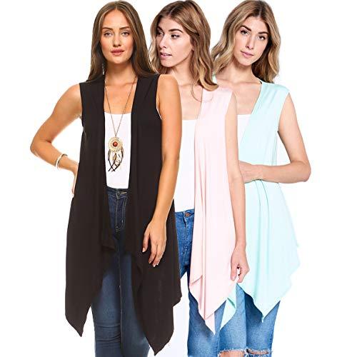 - 3 Pack Women's Long Flyaway Cardigan Vest - Open Front Sleeveless (Medium, Black, Mint & Blush)