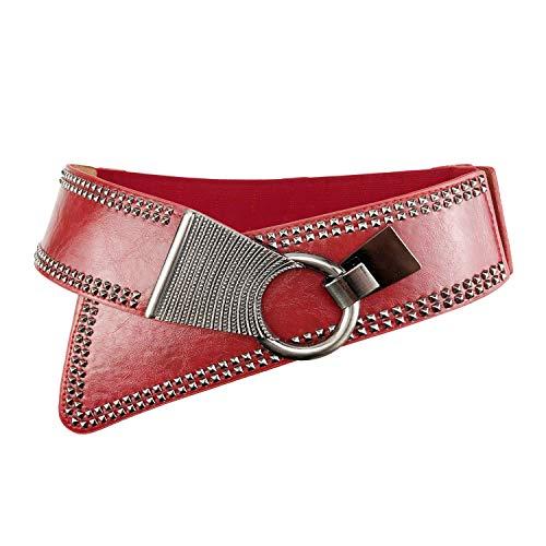 Women's Fashion Vintage Wide Waist Belt Elastic Stretch Steampunk Waistband With Interlock Buckle -