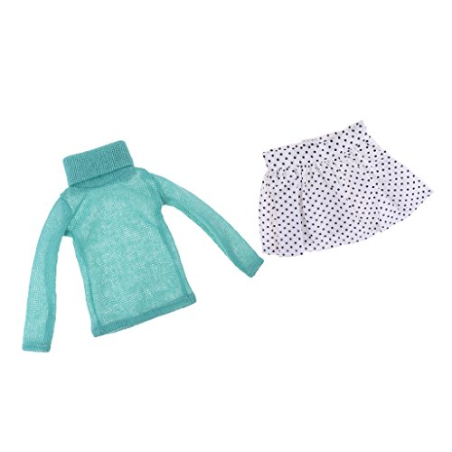 Baoblaze Trendy Doll Clothing Suit Turtleneck High Collar Knitted Sweaters & Polka Dot Pettiskirt Gown Clothes Outfit for 1/3 BJD Dolls Green